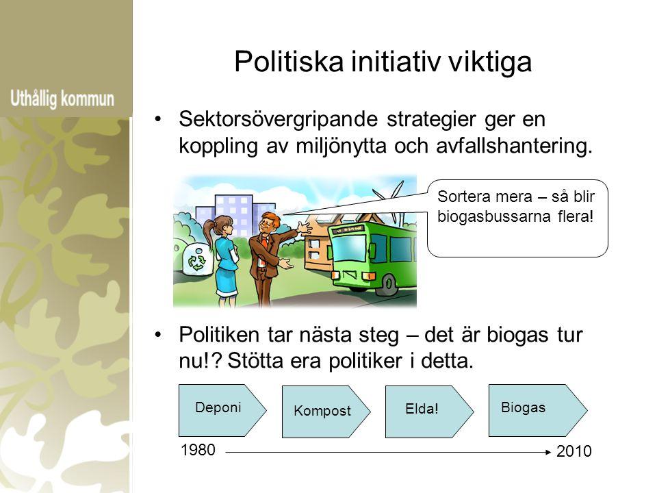 Politiska initiativ viktiga Sektorsövergripande strategier ger en koppling av miljönytta och avfallshantering. Politiken tar nästa steg – det är bioga