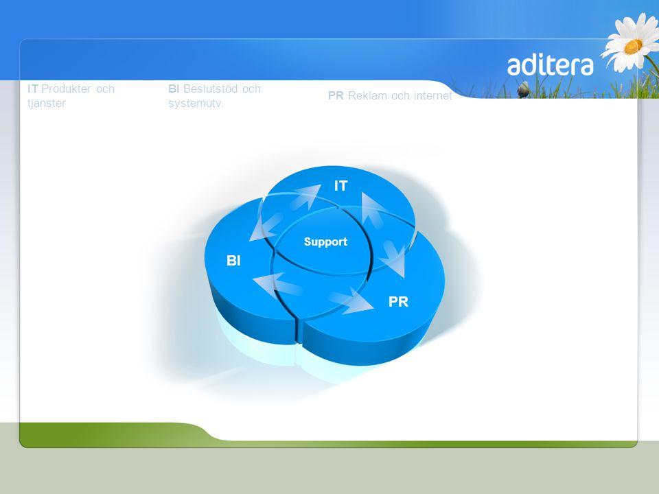IT Produkter och tjänster BI Beslutstöd och systemutv. PR Reklam och internet Support PR BI IT