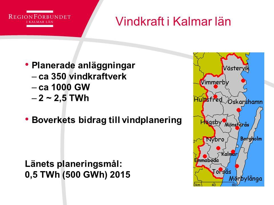 Vindkraft i Kalmar län Planerade anläggningar –ca 350 vindkraftverk –ca 1000 GW –2 ~ 2,5 TWh Boverkets bidrag till vindplanering Länets planeringsmål: 0,5 TWh (500 GWh) 2015