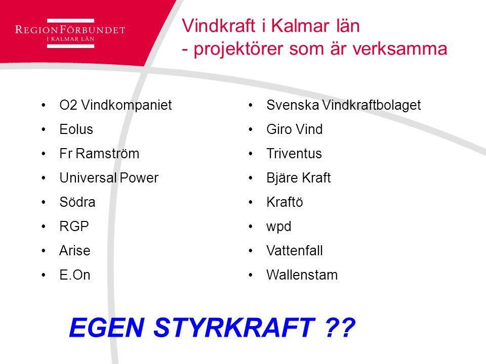 Vindkraft i Kalmar län - projektörer som är verksamma O2 Vindkompaniet Eolus Fr Ramström Universal Power Södra RGP Arise E.On Svenska Vindkraftbolaget