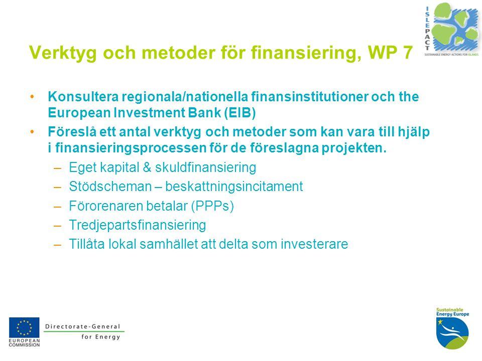 10 Verktyg och metoder för finansiering, WP 7 Konsultera regionala/nationella finansinstitutioner och the European Investment Bank (EIB) Föreslå ett antal verktyg och metoder som kan vara till hjälp i finansieringsprocessen för de föreslagna projekten.