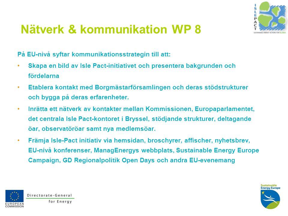 11 Nätverk & kommunikation WP 8 På EU-nivå syftar kommunikationsstrategin till att: Skapa en bild av Isle Pact-initiativet och presentera bakgrunden och fördelarna Etablera kontakt med Borgmästarförsamlingen och deras stödstrukturer och bygga på deras erfarenheter.