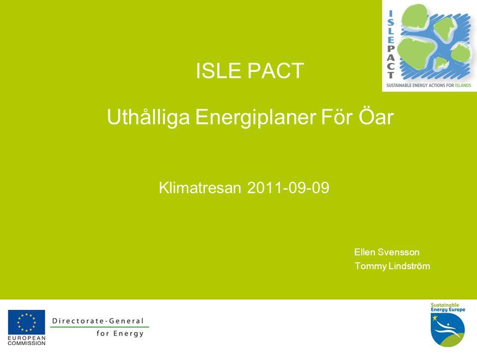 13 Slutsatser ISLE-PACT är inte bara ett projekt utan också en process IslePact kan - och vilI - visa att öar kan ligga i framkanten i kampen mot oönskade klimatförändringar och samtidigt skapa tillväxt och välstånd i tider med ekonomiska svårigheter Det finns inga barriärer eller hinder i arbetet med att bekämpa klimathotet, det finns bara möjligheter För mer information se: www.islepact.eu