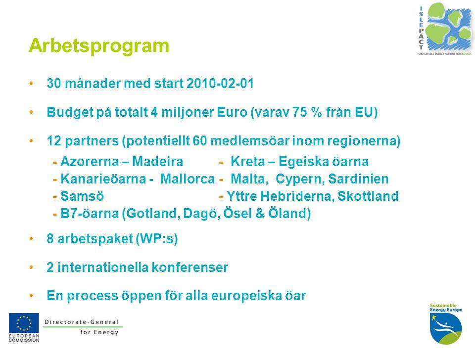 4 Arbetsprogram 30 månader med start 2010-02-01 Budget på totalt 4 miljoner Euro (varav 75 % från EU) 12 partners (potentiellt 60 medlemsöar inom regionerna) - Azorerna – Madeira- Kreta – Egeiska öarna - Kanarieöarna - Mallorca- Malta, Cypern, Sardinien - Samsö- Yttre Hebriderna, Skottland - B7-öarna (Gotland, Dagö, Ösel & Öland) 8 arbetspaket (WP:s) 2 internationella konferenser En process öppen för alla europeiska öar