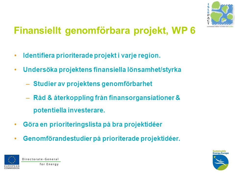 9 Finansiellt genomförbara projekt, WP 6 Identifiera prioriterade projekt i varje region.
