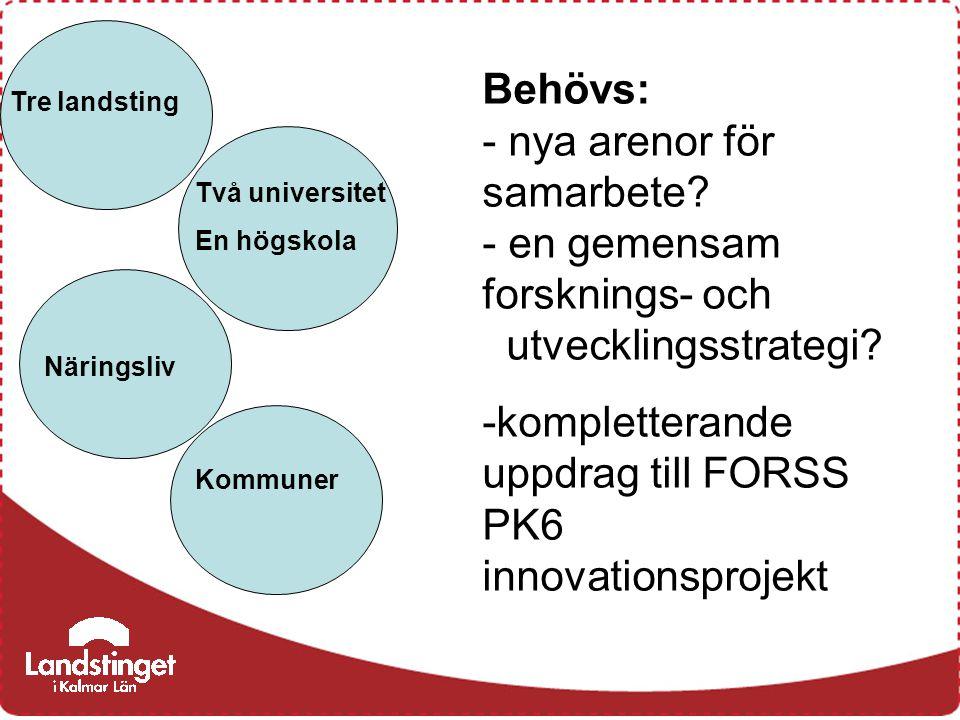 Två universitet En högskola Tre landsting Näringsliv Kommuner Behövs: - nya arenor för samarbete? - en gemensam forsknings- och utvecklingsstrategi? -