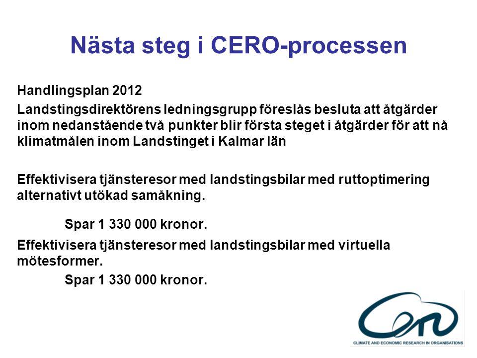 Nästa steg i CERO-processen Handlingsplan 2012 Landstingsdirektörens ledningsgrupp föreslås besluta att åtgärder inom nedanstående två punkter blir fö