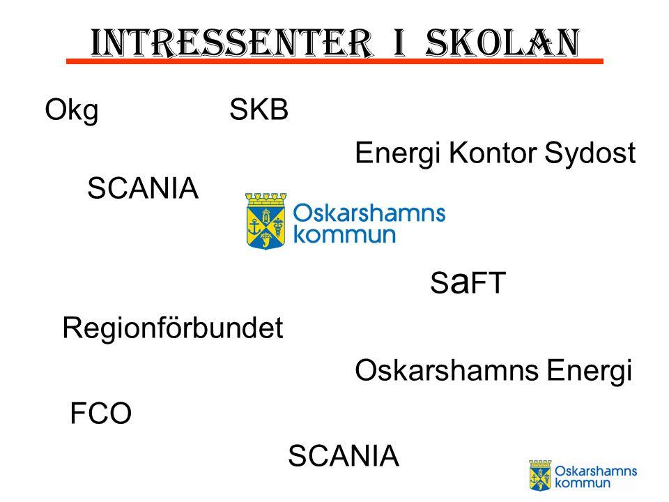 Intressenter i skolan Okg SKB Energi Kontor Sydost SCANIA S a FT Regionförbundet Oskarshamns Energi FCO SCANIA