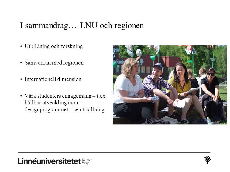 I sammandrag… LNU och regionen Utbildning och forskning Samverkan med regionen Internationell dimension Våra studenters engagemang – t.ex. hållbar utv