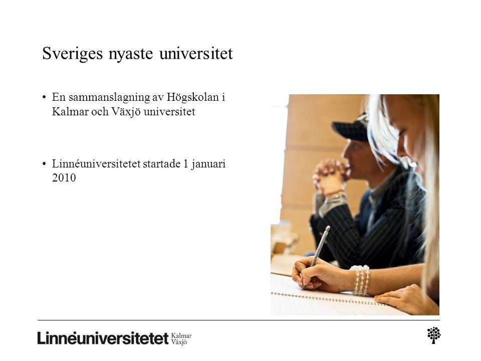 Sveriges nyaste universitet En sammanslagning av Högskolan i Kalmar och Växjö universitet Linnéuniversitetet startade 1 januari 2010