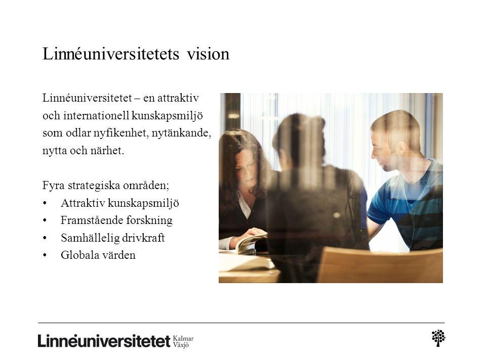 Linnéuniversitetets vision Linnéuniversitetet – en attraktiv och internationell kunskapsmiljö som odlar nyfikenhet, nytänkande, nytta och närhet. Fyra