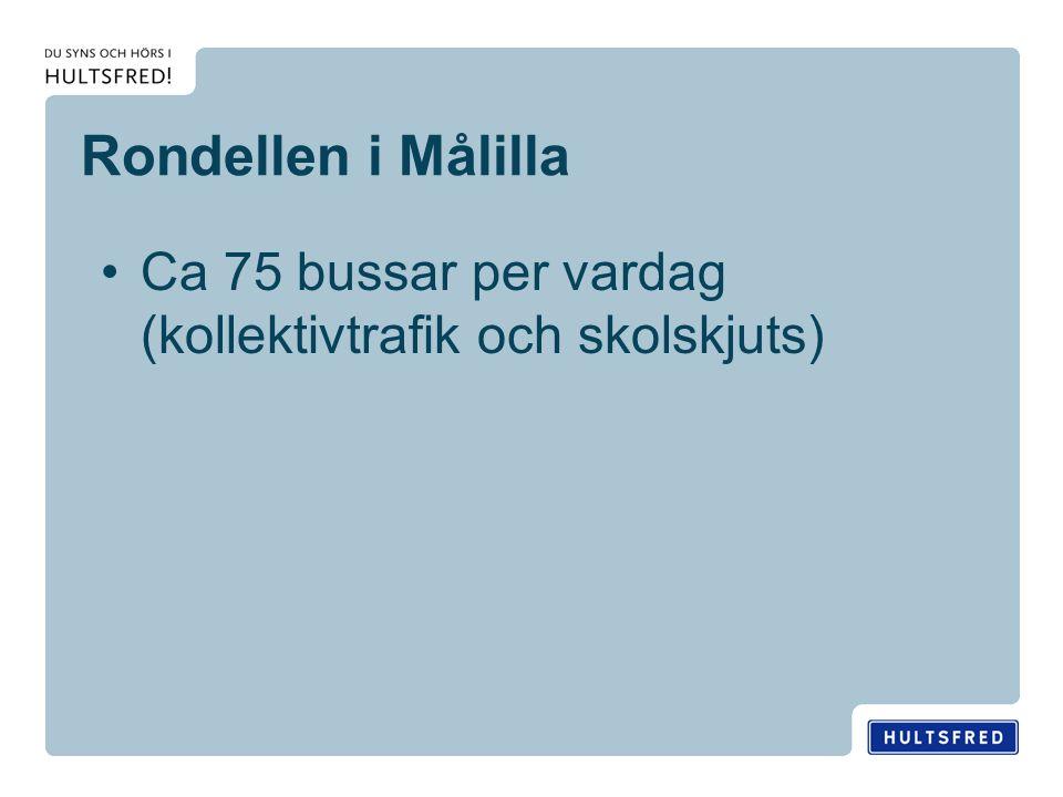 Rondellen i Målilla Ca 75 bussar per vardag (kollektivtrafik och skolskjuts)