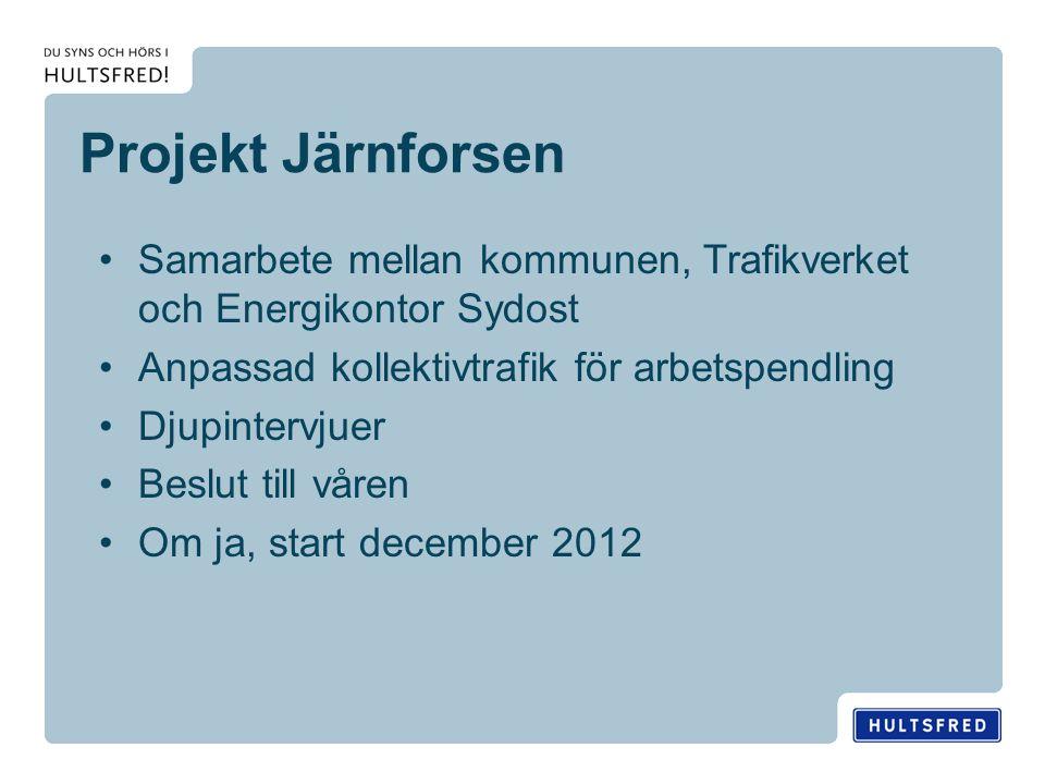 Projekt Järnforsen Samarbete mellan kommunen, Trafikverket och Energikontor Sydost Anpassad kollektivtrafik för arbetspendling Djupintervjuer Beslut till våren Om ja, start december 2012