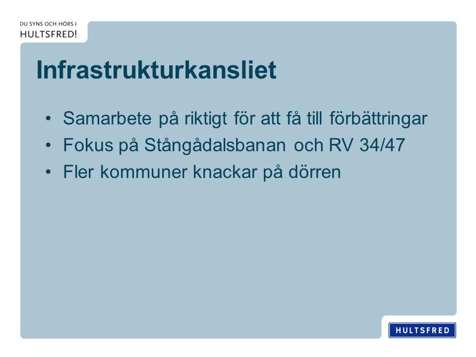 Infrastrukturkansliet Samarbete på riktigt för att få till förbättringar Fokus på Stångådalsbanan och RV 34/47 Fler kommuner knackar på dörren