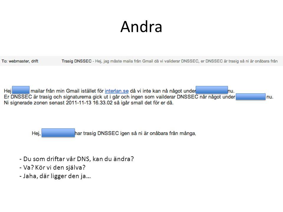 Andra - Du som driftar vår DNS, kan du ändra - Va Kör vi den själva - Jaha, där ligger den ja…