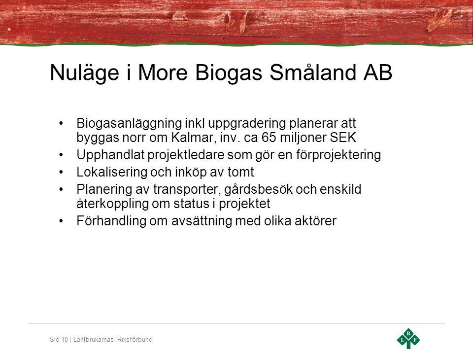 Sid 10 | Lantbrukarnas Riksförbund Nuläge i More Biogas Småland AB Biogasanläggning inkl uppgradering planerar att byggas norr om Kalmar, inv.