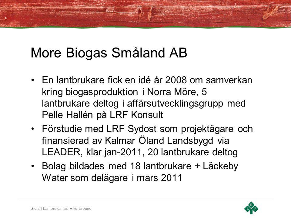 Sid 2 | Lantbrukarnas Riksförbund More Biogas Småland AB En lantbrukare fick en idé år 2008 om samverkan kring biogasproduktion i Norra Möre, 5 lantbrukare deltog i affärsutvecklingsgrupp med Pelle Hallén på LRF Konsult Förstudie med LRF Sydost som projektägare och finansierad av Kalmar Öland Landsbygd via LEADER, klar jan-2011, 20 lantbrukare deltog Bolag bildades med 18 lantbrukare + Läckeby Water som delägare i mars 2011