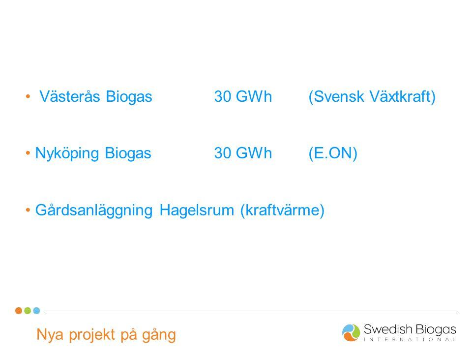 Nya projekt på gång Västerås Biogas30 GWh(Svensk Växtkraft) Nyköping Biogas30 GWh(E.ON) Gårdsanläggning Hagelsrum (kraftvärme)