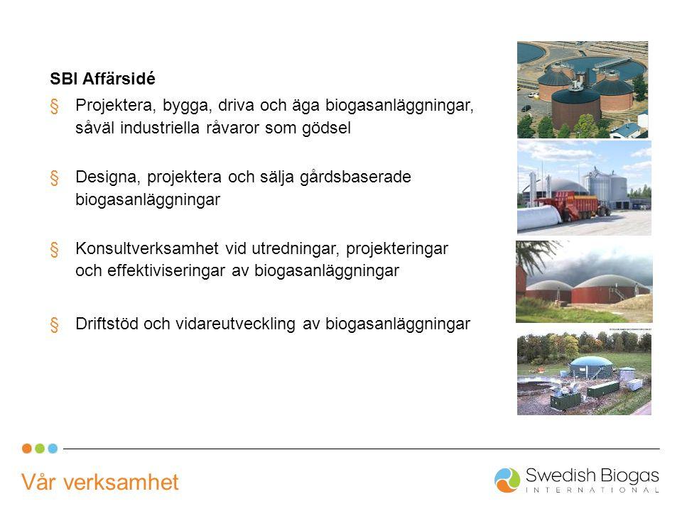 SBI Affärsidé §Projektera, bygga, driva och äga biogasanläggningar, såväl industriella råvaror som gödsel §Designa, projektera och sälja gårdsbaserade biogasanläggningar §Konsultverksamhet vid utredningar, projekteringar och effektiviseringar av biogasanläggningar §Driftstöd och vidareutveckling av biogasanläggningar Vår verksamhet