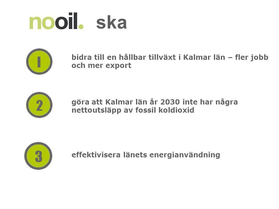 bidra till en hållbar tillväxt i Kalmar län – fler jobb och mer export göra att Kalmar län år 2030 inte har några nettoutsläpp av fossil koldioxid effektivisera länets energianvändning ska