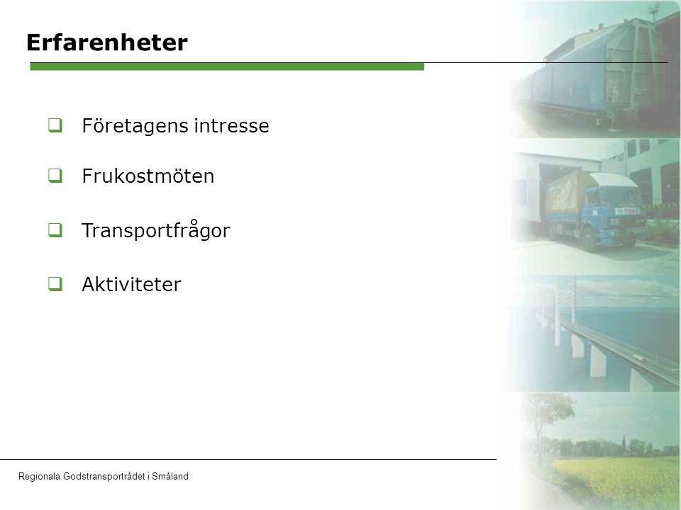 Regionala Godstransportrådet i SmålandOH 10 Erfarenheter  Företagens intresse  Frukostmöten  Transportfrågor  Aktiviteter