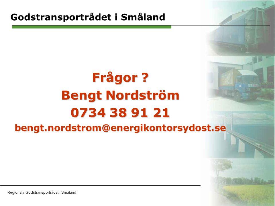 Regionala Godstransportrådet i SmålandOH 17 Godstransportrådet i Småland Frågor .