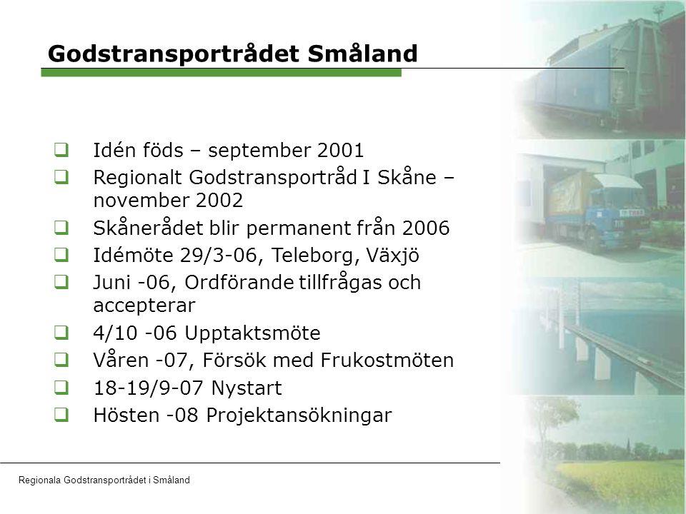 Regionala Godstransportrådet i SmålandOH 13 Erfarenheter  Företagens intresse  Frukostmöten  Projekt  Aktiviteter