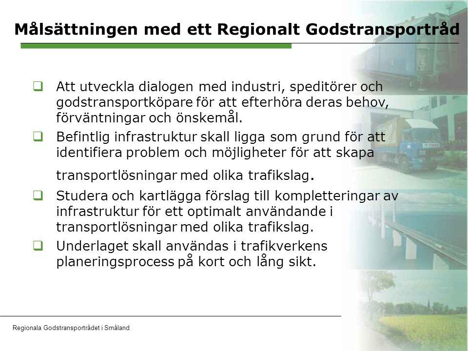 Regionala Godstransportrådet i SmålandOH 5 Hållbara och kostnadseffektiva transporter Faktorer som skall integreras i varandra Hardware  Infrastruktur, teknik Software  Administration, kunskap och attityder Greenware  Miljövänlig och hållbar