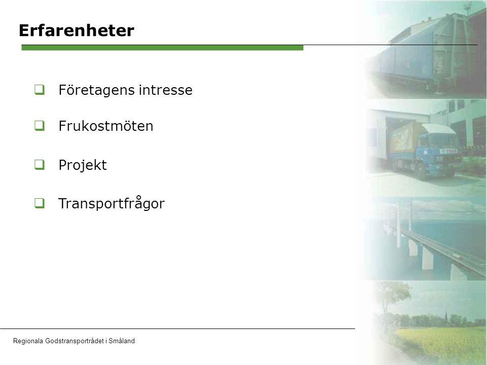 Regionala Godstransportrådet i SmålandOH 8 Erfarenheter  Företagens intresse  Frukostmöten  Projekt  Transportfrågor