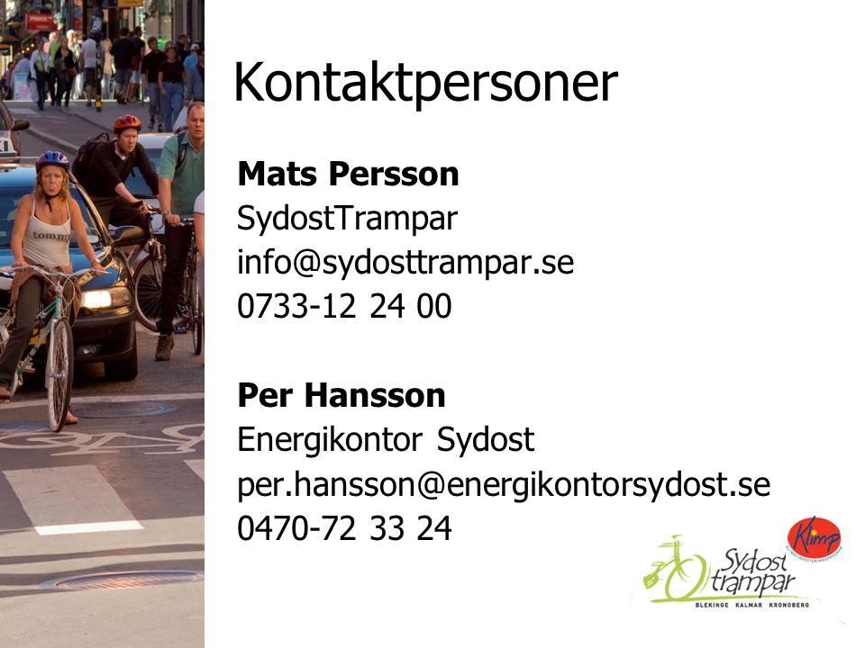 Kontaktpersoner Mats Persson SydostTrampar info@sydosttrampar.se 0733-12 24 00 Per Hansson Energikontor Sydost per.hansson@energikontorsydost.se 0470-72 33 24