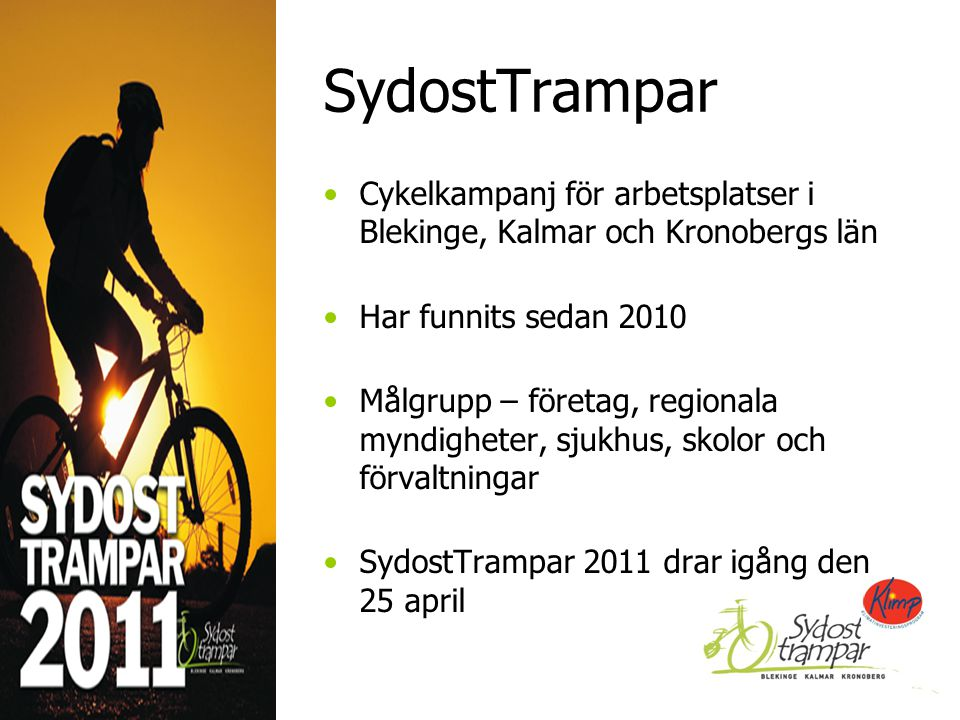 SydostTrampar Cykelkampanj för arbetsplatser i Blekinge, Kalmar och Kronobergs län Har funnits sedan 2010 Målgrupp – företag, regionala myndigheter, sjukhus, skolor och förvaltningar SydostTrampar 2011 drar igång den 25 april 2014-09-122