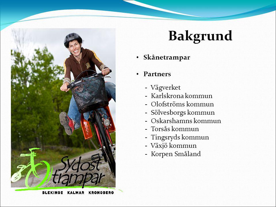 Bakgrund Skånetrampar Partners - Vägverket - Karlskrona kommun - Olofströms kommun - Sölvesborgs kommun - Oskarshamns kommun - Torsås kommun - Tingsryds kommun - Växjö kommun - Korpen Småland