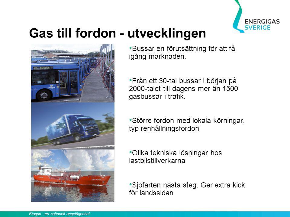 Gas till fordon - utvecklingen Bussar en förutsättning för att få igång marknaden. Från ett 30-tal bussar i början på 2000-talet till dagens mer än 15