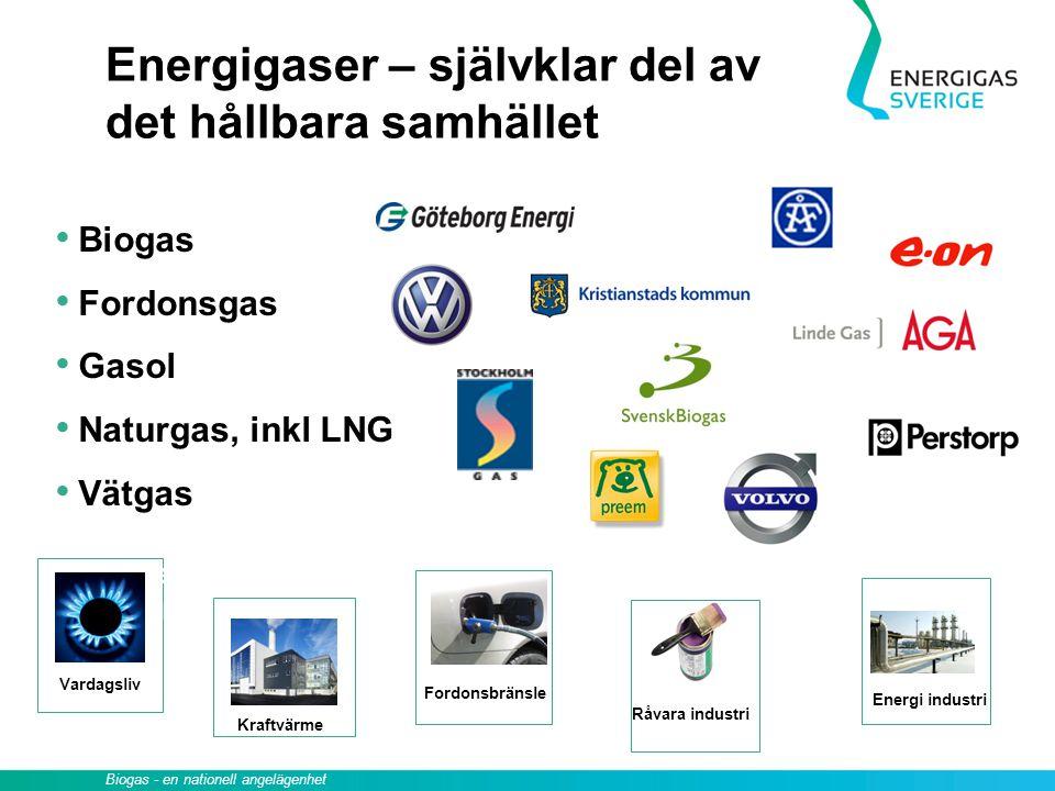 Råvara industri Biogas - en nationell angelägenhet Energigaser – självklar del av det hållbara samhället Biogas Fordonsgas Gasol Naturgas, inkl LNG Vä