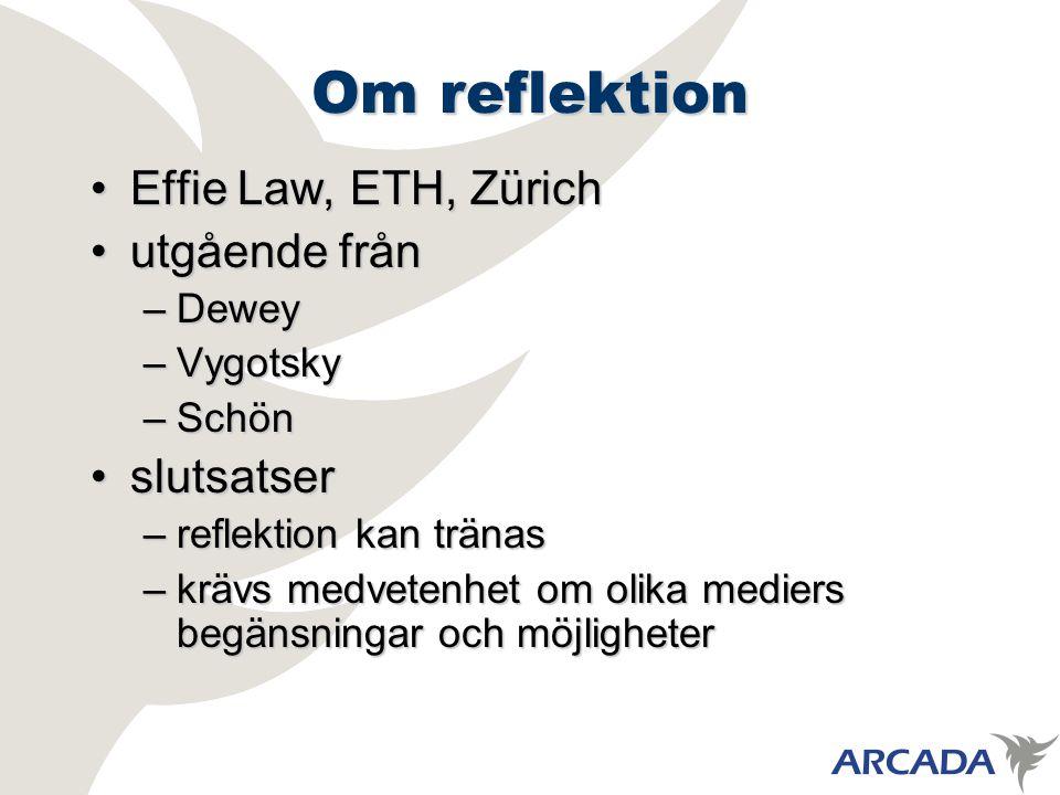 Om reflektion Effie Law, ETH, ZürichEffie Law, ETH, Zürich utgående frånutgående från –Dewey –Vygotsky –Schön slutsatserslutsatser –reflektion kan tränas –krävs medvetenhet om olika mediers begänsningar och möjligheter
