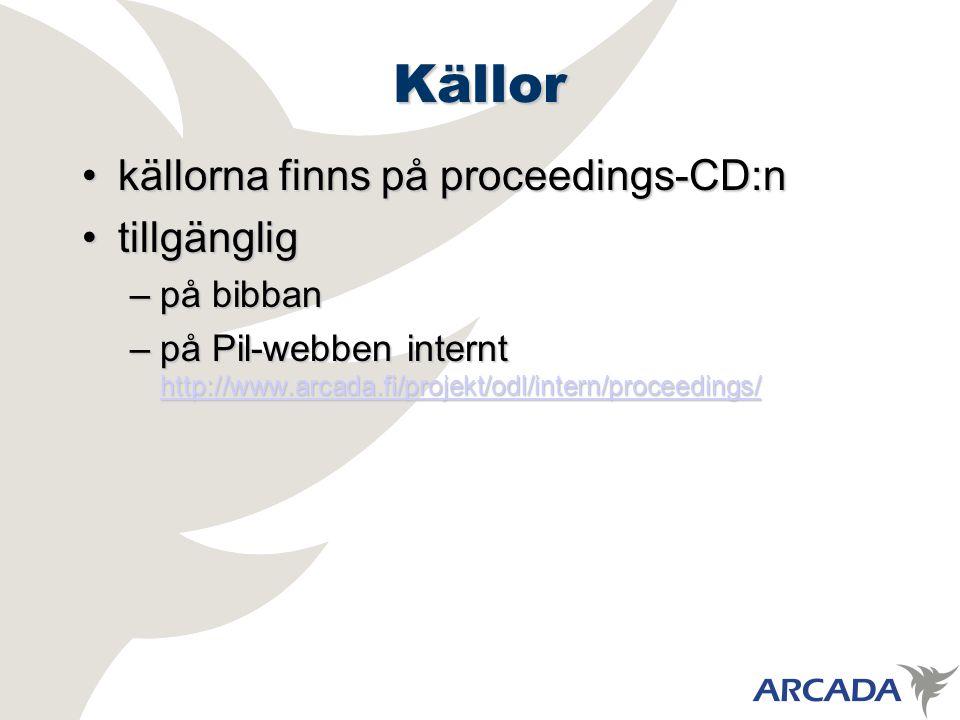 Källor källorna finns på proceedings-CD:nkällorna finns på proceedings-CD:n tillgängligtillgänglig –på bibban –på Pil-webben internt http://www.arcada.fi/projekt/odl/intern/proceedings/ http://www.arcada.fi/projekt/odl/intern/proceedings/