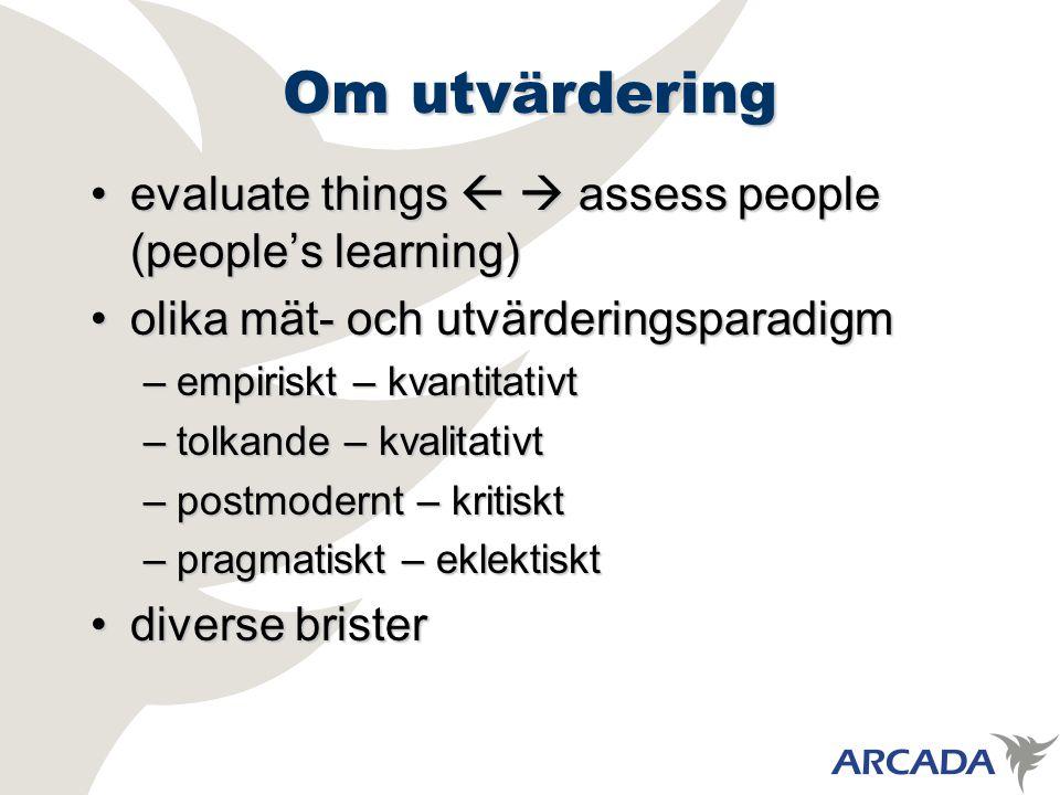 Om utvärdering evaluate things   assess people (people's learning)evaluate things   assess people (people's learning) olika mät- och utvärderingsparadigmolika mät- och utvärderingsparadigm –empiriskt – kvantitativt –tolkande – kvalitativt –postmodernt – kritiskt –pragmatiskt – eklektiskt diverse bristerdiverse brister