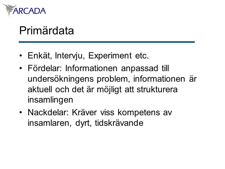 Primärdata Enkät, Intervju, Experiment etc.