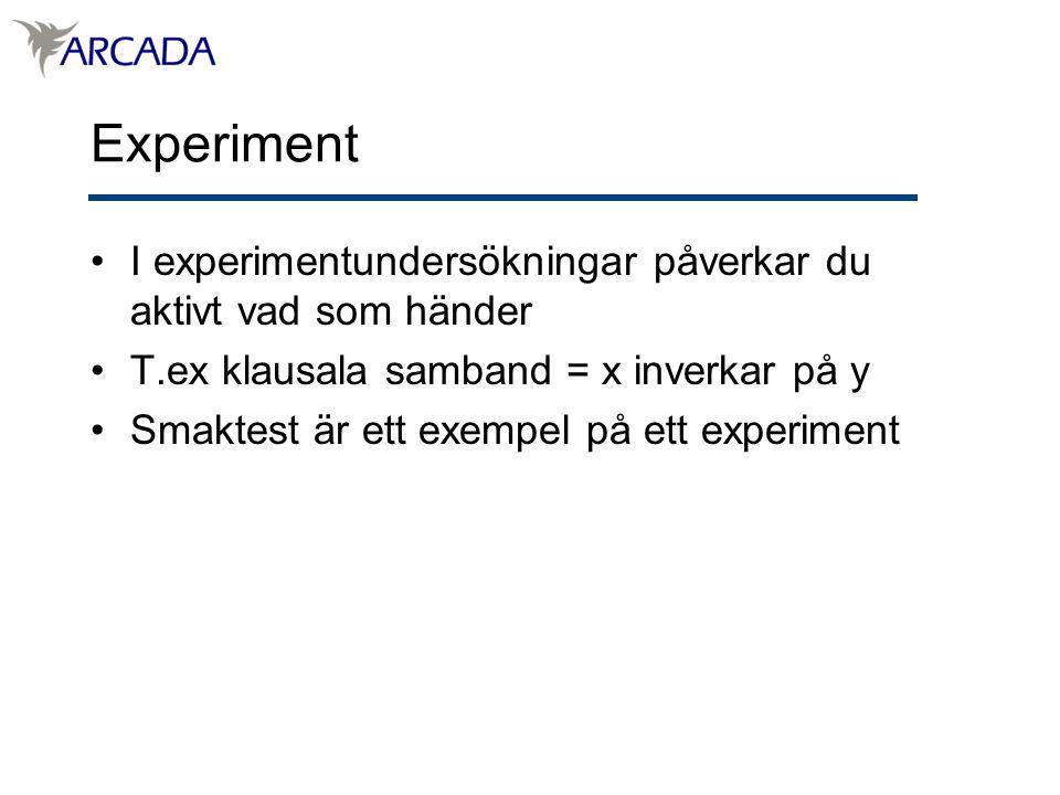 Experiment I experimentundersökningar påverkar du aktivt vad som händer T.ex klausala samband = x inverkar på y Smaktest är ett exempel på ett experiment