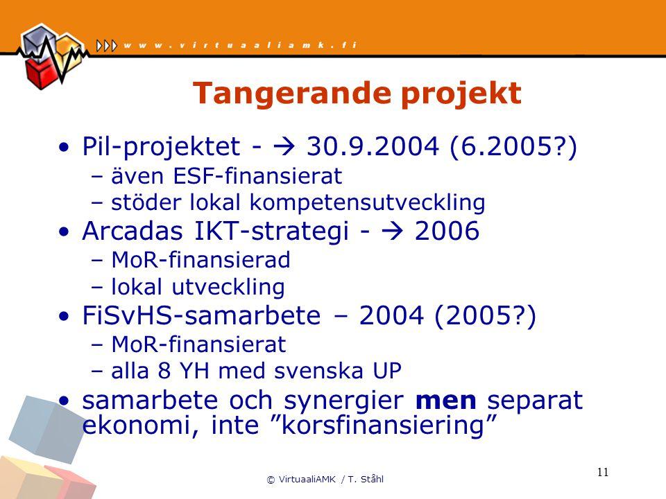 © VirtuaaliAMK / T. Ståhl 11 Tangerande projekt Pil-projektet -  30.9.2004 (6.2005?) –även ESF-finansierat –stöder lokal kompetensutveckling Arcadas