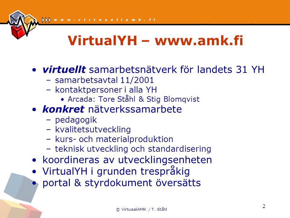 © VirtuaaliAMK / T. Ståhl 2 VirtualYH – www.amk.fi virtuellt samarbetsnätverk för landets 31 YH –samarbetsavtal 11/2001 –kontaktpersoner i alla YH Arc