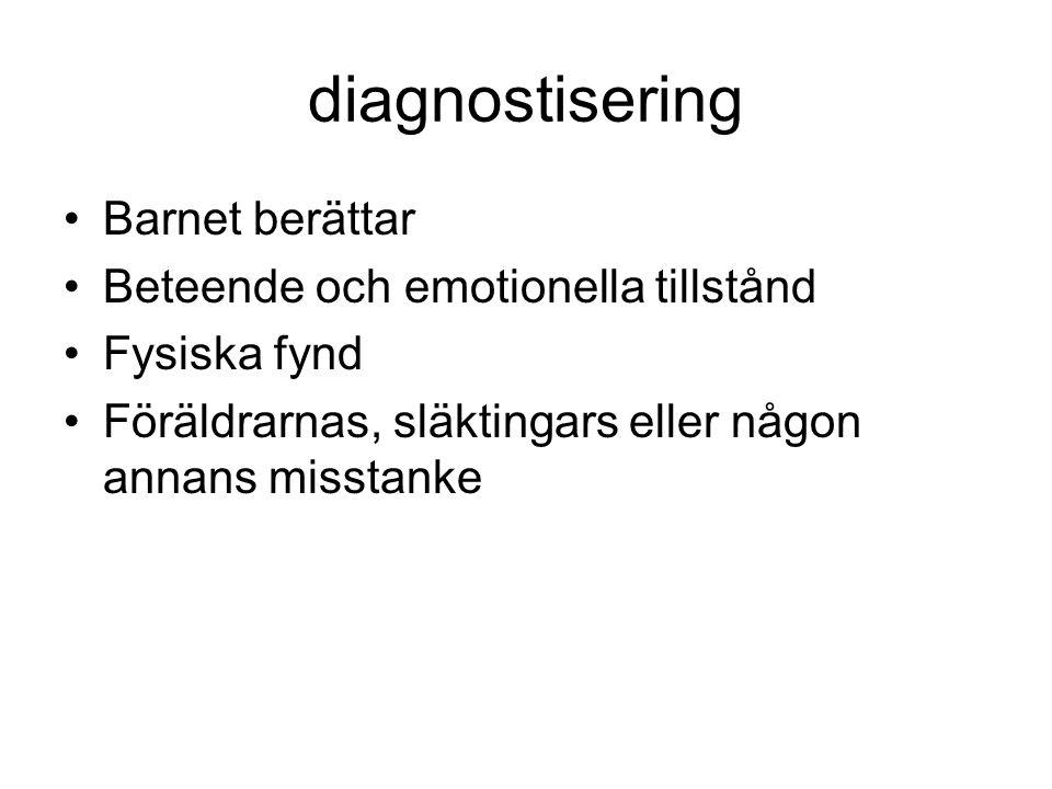 diagnostisering Barnet berättar Beteende och emotionella tillstånd Fysiska fynd Föräldrarnas, släktingars eller någon annans misstanke