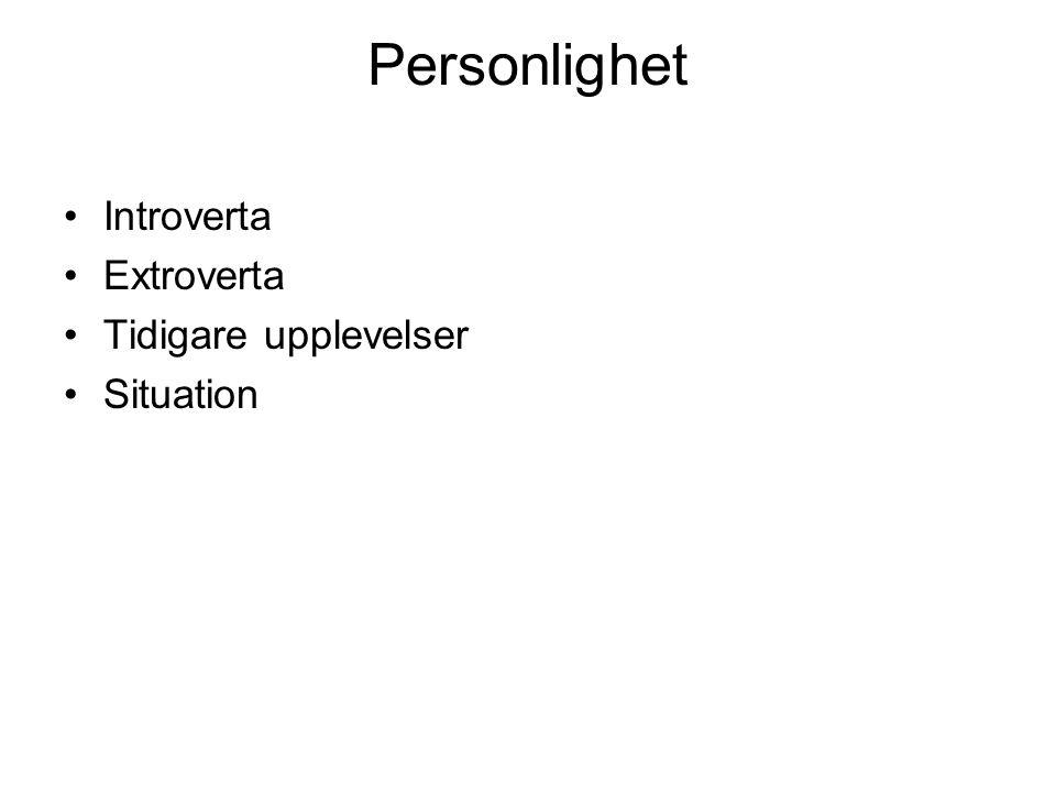 Personlighet Introverta Extroverta Tidigare upplevelser Situation