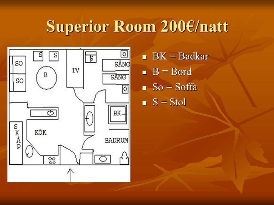 Superior Room 200€/natt BK = Badkar BK = Badkar B = Bord B = Bord So = Soffa So = Soffa S = Stol S = Stol