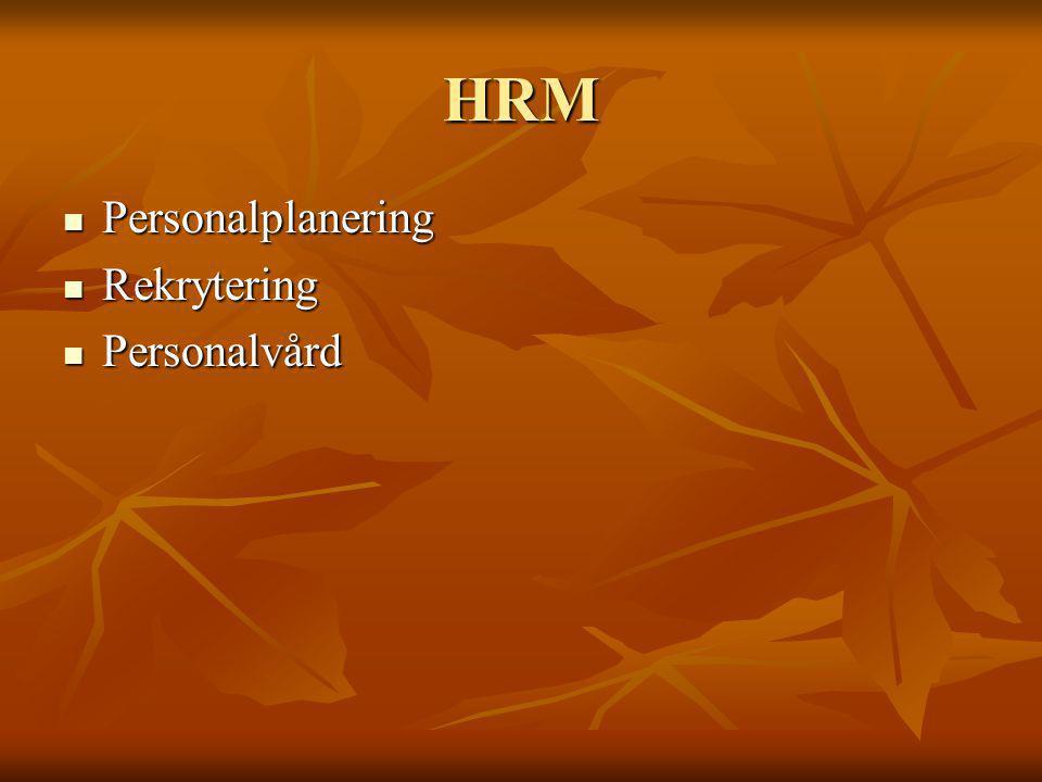 HRM Personalplanering Personalplanering Rekrytering Rekrytering Personalvård Personalvård