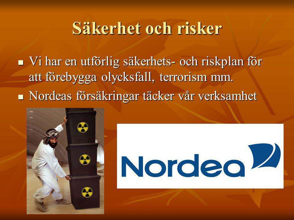 Säkerhet och risker Vi har en utförlig säkerhets- och riskplan för att förebygga olycksfall, terrorism mm. Vi har en utförlig säkerhets- och riskplan