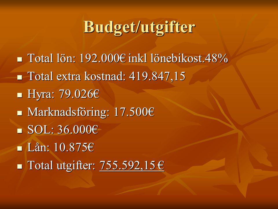 Budget/utgifter Total lön: 192.000€ inkl lönebikost.48% Total lön: 192.000€ inkl lönebikost.48% Total extra kostnad: 419.847,15 Total extra kostnad: 419.847,15 Hyra: 79.026€ Hyra: 79.026€ Marknadsföring: 17.500€ Marknadsföring: 17.500€ SOL: 36.000€ SOL: 36.000€ Lån: 10.875€ Lån: 10.875€ Total utgifter: 755.592,15 € Total utgifter: 755.592,15 €