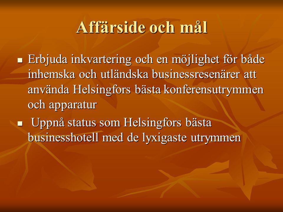 Affärside och mål Erbjuda inkvartering och en möjlighet för både inhemska och utländska businessresenärer att använda Helsingfors bästa konferensutrym
