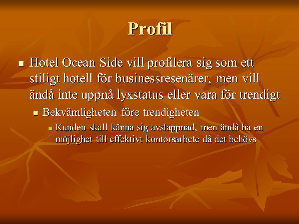 Profil Hotel Ocean Side vill profilera sig som ett stiligt hotell för businessresenärer, men vill ändå inte uppnå lyxstatus eller vara för trendigt Hotel Ocean Side vill profilera sig som ett stiligt hotell för businessresenärer, men vill ändå inte uppnå lyxstatus eller vara för trendigt Bekvämligheten före trendigheten Bekvämligheten före trendigheten Kunden skall känna sig avslappnad, men ändå ha en möjlighet till effektivt kontorsarbete då det behövs Kunden skall känna sig avslappnad, men ändå ha en möjlighet till effektivt kontorsarbete då det behövs