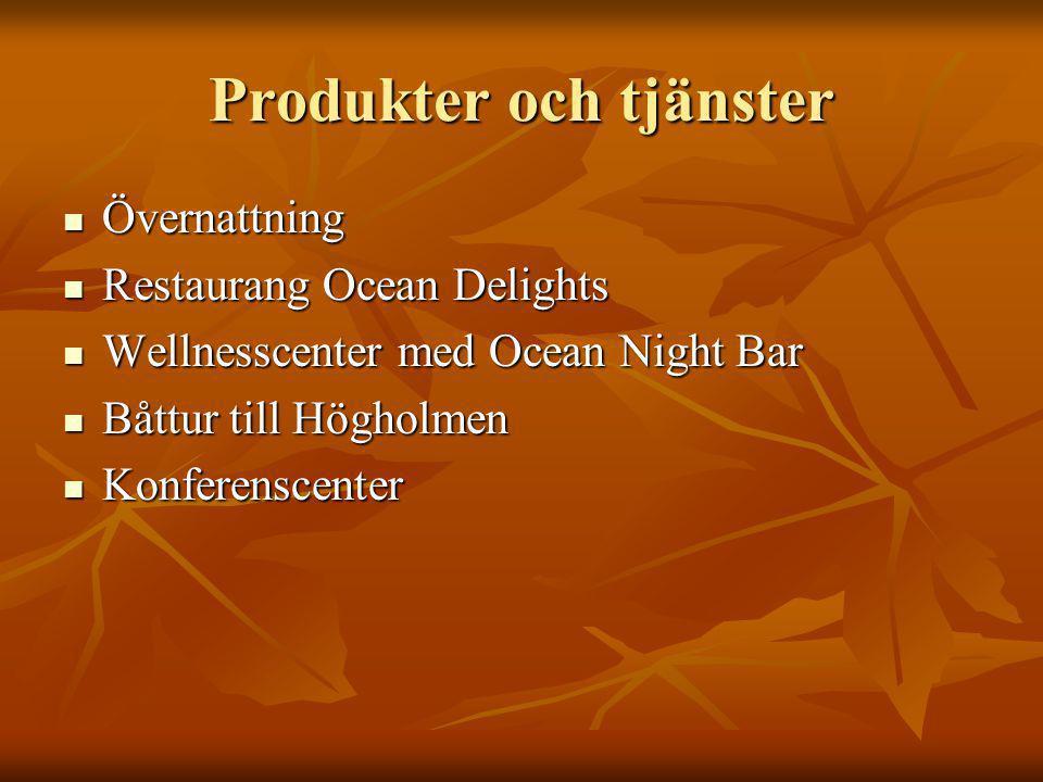 Produkter och tjänster Övernattning Övernattning Restaurang Ocean Delights Restaurang Ocean Delights Wellnesscenter med Ocean Night Bar Wellnesscenter med Ocean Night Bar Båttur till Högholmen Båttur till Högholmen Konferenscenter Konferenscenter